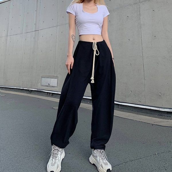 Drawstring Beamed Wide Pants 1 - My Sweet Outfit - EGirl Outfits - Soft Girl Clothes Aesthetic - Grunge Fashion Tumblr Hip Emo Rap Trap