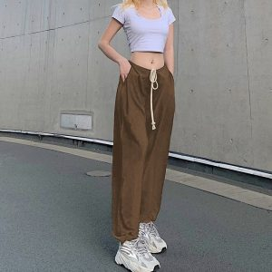 Drawstring Beamed Wide Pants 2 - My Sweet Outfit - EGirl Outfits - Soft Girl Clothes Aesthetic - Grunge Fashion Tumblr Hip Emo Rap Trap