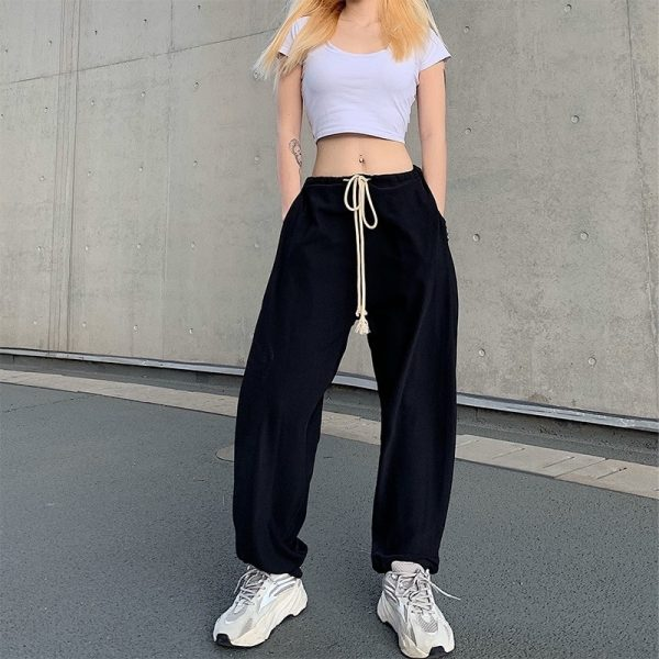Drawstring Beamed Wide Pants 3 - My Sweet Outfit - EGirl Outfits - Soft Girl Clothes Aesthetic - Grunge Fashion Tumblr Hip Emo Rap Trap