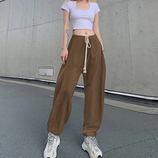 Drawstring Beamed Wide Pants 4 - My Sweet Outfit - EGirl Outfits - Soft Girl Clothes Aesthetic - Grunge Fashion Tumblr Hip Emo Rap Trap