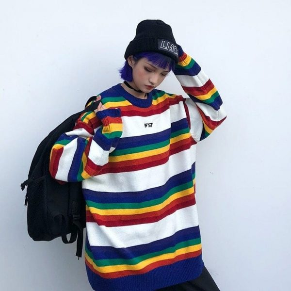 EGirl Rainbow Striped Oversized Sweater 1 - My Sweet Outfit - EGirl Outfits - Soft Girl Clothes Aesthetic - Grunge Fashion Tumblr Hip Emo Rap Trap