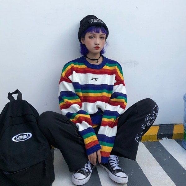 EGirl Rainbow Striped Oversized Sweater 2 - My Sweet Outfit - EGirl Outfits - Soft Girl Clothes Aesthetic - Grunge Fashion Tumblr Hip Emo Rap Trap
