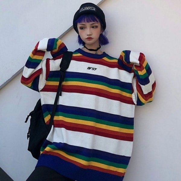 EGirl Rainbow Striped Oversized Sweater 3 - My Sweet Outfit - EGirl Outfits - Soft Girl Clothes Aesthetic - Grunge Fashion Tumblr Hip Emo Rap Trap