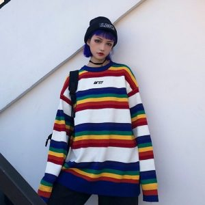 EGirl Rainbow Striped Oversized Sweater 4 - My Sweet Outfit - EGirl Outfits - Soft Girl Clothes Aesthetic - Grunge Fashion Tumblr Hip Emo Rap Trap