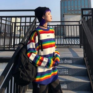 EGirl Rainbow Striped Oversized Sweater 5 - My Sweet Outfit - EGirl Outfits - Soft Girl Clothes Aesthetic - Grunge Fashion Tumblr Hip Emo Rap Trap