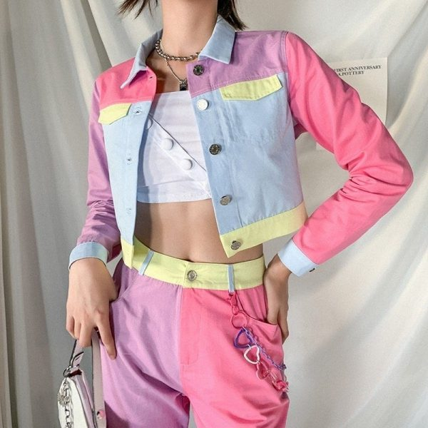 EGirl Style Short Color Block Casual Jacket 1 - My Sweet Outfit - EGirl Outfits - Soft Girl Clothes Aesthetic - Grunge Fashion Grime Hip Emo Rap Trap