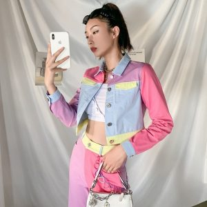 EGirl Style Short Color Block Casual Jacket 2 - My Sweet Outfit - EGirl Outfits - Soft Girl Clothes Aesthetic - Grunge Fashion Grime Hip Emo Rap Trap