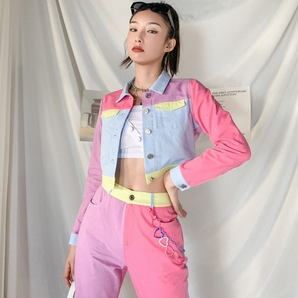 EGirl Style Short Color Block Casual Jacket 3 - My Sweet Outfit - EGirl Outfits - Soft Girl Clothes Aesthetic - Grunge Fashion Grime Hip Emo Rap Trap