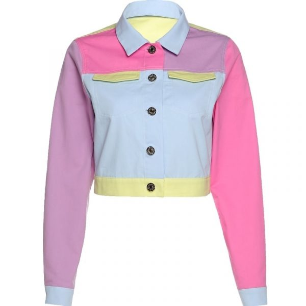 EGirl Style Short Color Block Casual Jacket 4 - My Sweet Outfit - EGirl Outfits - Soft Girl Clothes Aesthetic - Grunge Fashion Grime Hip Emo Rap Trap