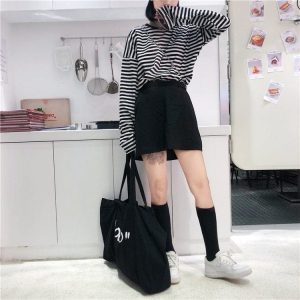 Egirl Striped Loose Thin Sweatshirt 3 - My Sweet Outfit - EGirl Outfits - Soft Girl Clothes Aesthetic - Grunge Fashion Grime Hip Emo Rap Trap