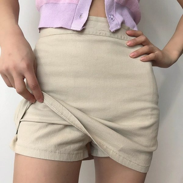 Elastic High Waisted Thin Skirt And Shorts 2 - My Sweet Outfit - EGirl Outfits - Soft Girl Clothes Aesthetic - Grunge Fashion Grime Hip Emo Rap Trap