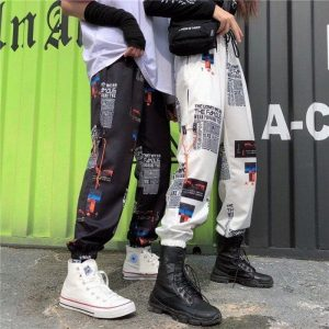 Elastic Waist Jogger Pants 3 - My Sweet Outfit - EGirl Outfits - Soft Girl Clothes Aesthetic - Grunge Fashion Tumblr Hip Emo Rap Trap