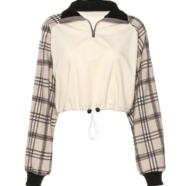 English Style Check Pattern Thin Lapel Sweater 4 - My Sweet Outfit - EGirl Outfits - Soft Girl Clothes Aesthetic - Grunge Fashion Grime Hip Emo Rap Trap