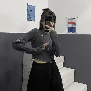Fake Sleeves Dark Uneven Top 1 - My Sweet Outfit - EGirl Outfits - Soft Girl Clothes Aesthetic - Grunge Fashion Tumblr Hip Emo Rap Trap