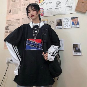 Fake Two Piece Sweatshirt With Collar 2 - My Sweet Outfit - EGirl Outfits - Soft Girl Clothes Aesthetic - Grunge Fashion Tumblr Hip Emo Rap Trap