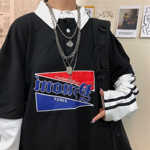 Fake Two Piece Sweatshirt With Collar 4 - My Sweet Outfit - EGirl Outfits - Soft Girl Clothes Aesthetic - Grunge Fashion Tumblr Hip Emo Rap Trap