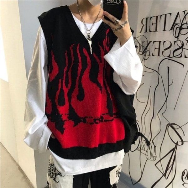 Fire Embroidery Loose Sleeveless Sweater 1 - My Sweet Outfit - EGirl Outfits - Soft Girl Clothes Aesthetic - Grunge Fashion Tumblr Hip Emo Rap Trap