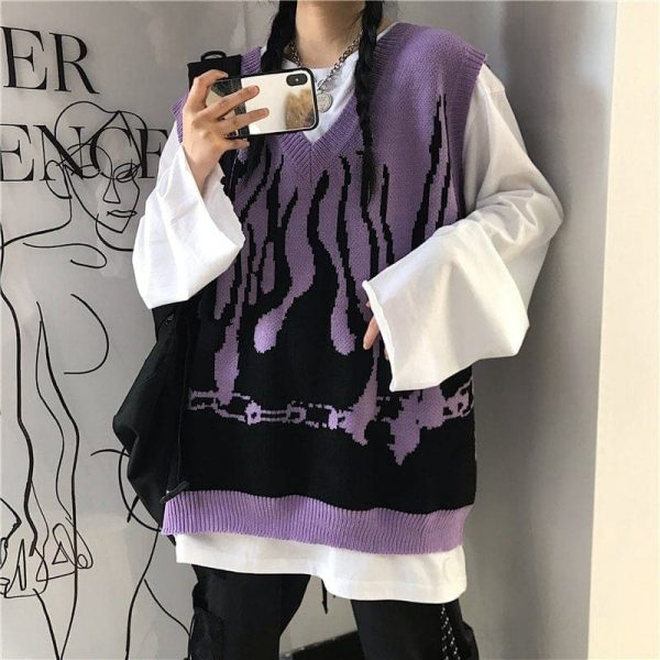 Fire Embroidery Loose Sleeveless Sweater 2 - My Sweet Outfit - EGirl Outfits - Soft Girl Clothes Aesthetic - Grunge Fashion Tumblr Hip Emo Rap Trap