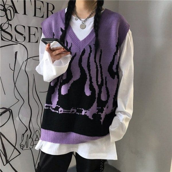 Fire Embroidery Loose Sleeveless Sweater 3 - My Sweet Outfit - EGirl Outfits - Soft Girl Clothes Aesthetic - Grunge Fashion Tumblr Hip Emo Rap Trap