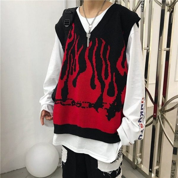 Fire Embroidery Loose Sleeveless Sweater 4 - My Sweet Outfit - EGirl Outfits - Soft Girl Clothes Aesthetic - Grunge Fashion Tumblr Hip Emo Rap Trap
