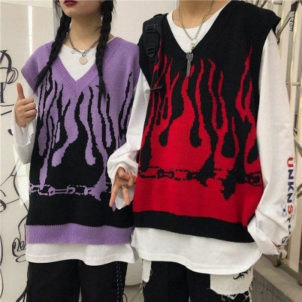 Fire Embroidery Loose Sleeveless Sweater 5 - My Sweet Outfit - EGirl Outfits - Soft Girl Clothes Aesthetic - Grunge Fashion Tumblr Hip Emo Rap Trap