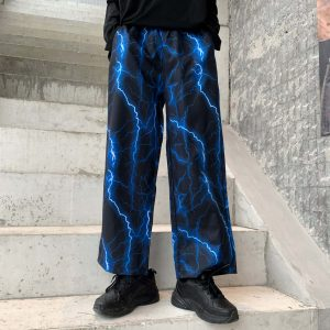 Fire Lightning Print Street Style Wide Pants 2 - My Sweet Outfit - EGirl Outfits - Soft Girl Clothes Aesthetic - Grunge Fashion Grime Hip Emo Rap Trap