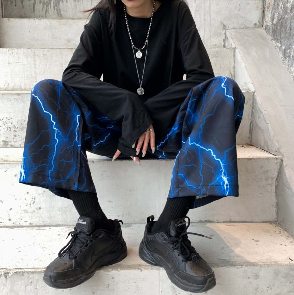Fire Lightning Print Street Style Wide Pants 3 - My Sweet Outfit - EGirl Outfits - Soft Girl Clothes Aesthetic - Grunge Fashion Grime Hip Emo Rap Trap