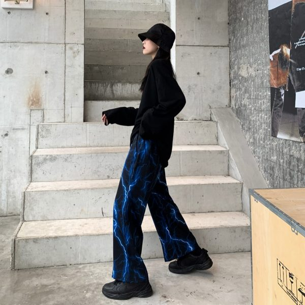Fire Lightning Print Street Style Wide Pants 4 - My Sweet Outfit - EGirl Outfits - Soft Girl Clothes Aesthetic - Grunge Fashion Grime Hip Emo Rap Trap