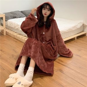 Flannel Hooded Homewear Pajamas 3 - My Sweet Outfit - EGirl Outfits - Soft Girl Clothes Aesthetic