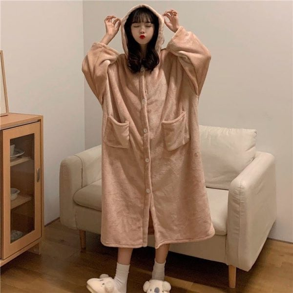Flannel Hooded Homewear Pajamas 4 - My Sweet Outfit - EGirl Outfits - Soft Girl Clothes Aesthetic