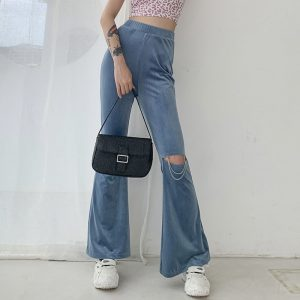 Flared Ripped Corduroy Pants 1 - My Sweet Outfit - EGirl Outfits - Soft Girl Clothes Aesthetic