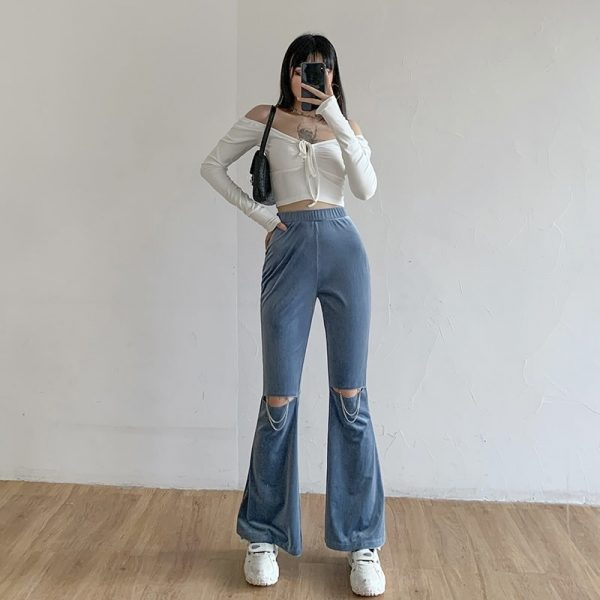 Flared Ripped Corduroy Pants 2 - My Sweet Outfit - EGirl Outfits - Soft Girl Clothes Aesthetic
