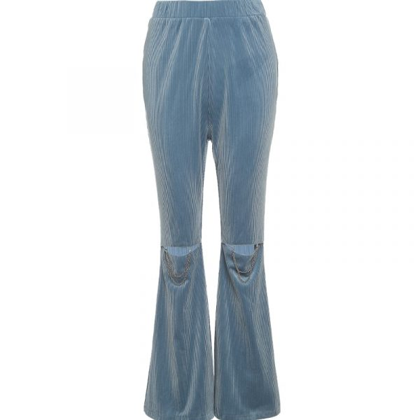 Flared Ripped Corduroy Pants 4 - My Sweet Outfit - EGirl Outfits - Soft Girl Clothes Aesthetic