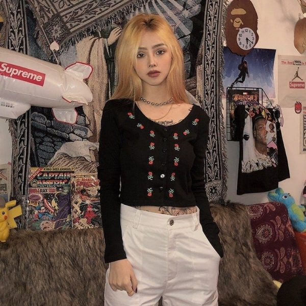 Flower Pattern Short Cardigan 2 - My Sweet Outfit - EGirl Outfits - Soft Girl Clothes Aesthetic - Grunge Fashion Tumblr Hip Emo Rap Trap