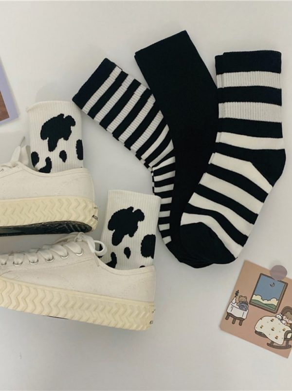 Four Pairs Of Black, Milk, Striped Sports Socks 1 - My Sweet Outfit - EGirl Outfits - Soft Girl Clothes Aesthetic - Grunge Fashion Grime Hip Emo Rap Trap