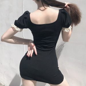 French Bow Lace Slim Fit Dress 1 - My Sweet Outfit - EGirl Outfits - Soft Girl Clothes Aesthetic - Grunge Fashion Grime Hip Emo Rap Trap