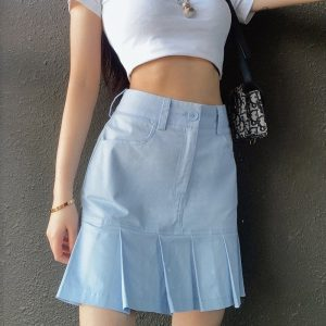 Fresh Blue High Waist Short Pleated Skirt 3 - My Sweet Outfit - EGirl Outfits - Soft Girl Clothes Aesthetic - Grunge Fashion Tumblr Hip Emo Trap