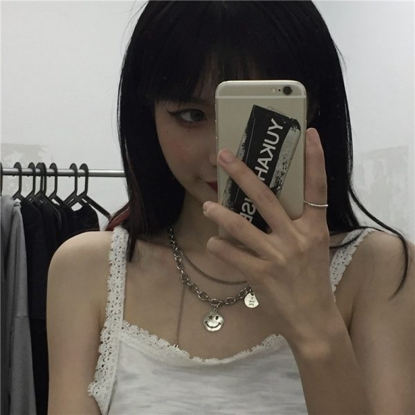 Funny Smile Pendant Necklace 3 - My Sweet Outfit - EGirl Outfits - Soft Girl Clothes Aesthetic - Grunge Fashion Grime Hip Emo Rap Trap