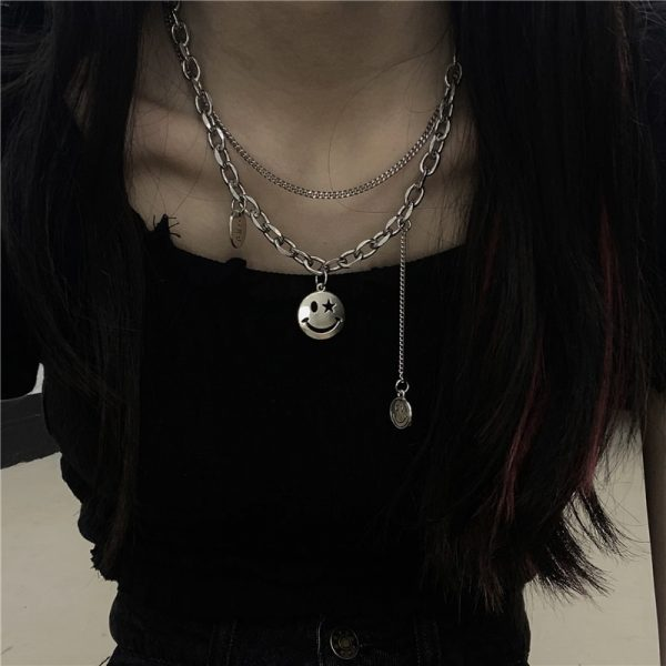 Funny Smile Pendant Necklace 5 - My Sweet Outfit - EGirl Outfits - Soft Girl Clothes Aesthetic - Grunge Fashion Grime Hip Emo Rap Trap