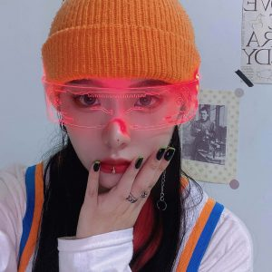 Future Punk Cyber Goth Luminous Glasses 1 - My Sweet Outfit - EGirl Outfits - Soft Girl Clothes Aesthetic - Grunge Fashion Grime Hip Emo Rap Trap