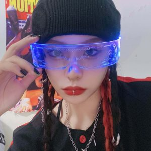 Future Punk Cyber Goth Luminous Glasses 2 - My Sweet Outfit - EGirl Outfits - Soft Girl Clothes Aesthetic - Grunge Fashion Grime Hip Emo Rap Trap