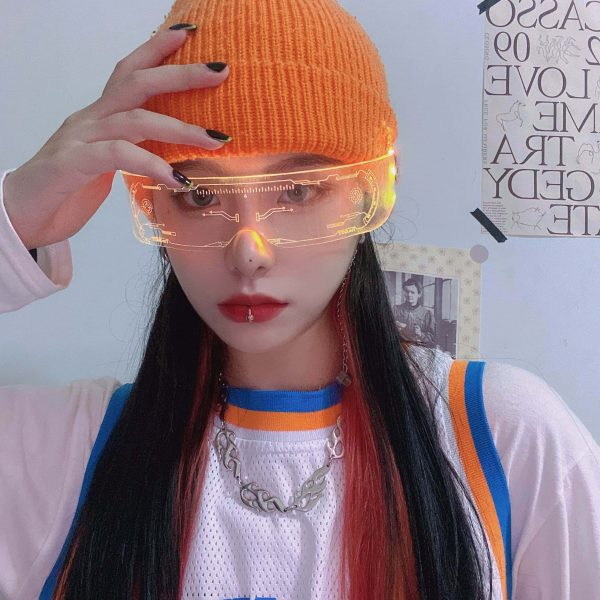 Future Punk Cyber Goth Luminous Glasses 3 - My Sweet Outfit - EGirl Outfits - Soft Girl Clothes Aesthetic - Grunge Fashion Grime Hip Emo Rap Trap