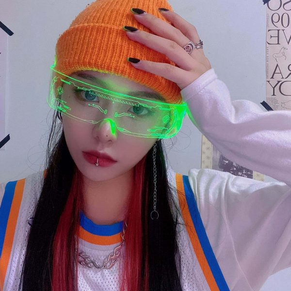 Future Punk Cyber Goth Luminous Glasses 4 - My Sweet Outfit - EGirl Outfits - Soft Girl Clothes Aesthetic - Grunge Fashion Grime Hip Emo Rap Trap