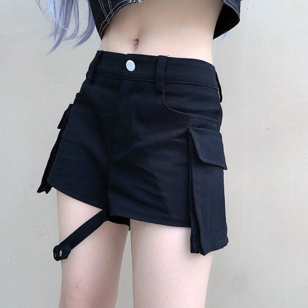 Garter Large Pocket Army Shorts 1 - My Sweet Outfit - EGirl Outfits - Soft Girl Clothes Aesthetic - Grunge Fashion Tumblr Hip Emo Rap Trap