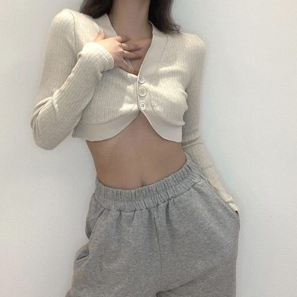 Gentle Retro Short Knitted Blouse Cardigan 1 - My Sweet Outfit - EGirl Outfits - Soft Girl Clothes Aesthetic - Grunge Fashion Grime Hip Emo Rap Trap