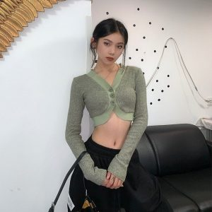 Gentle Retro Short Knitted Blouse Cardigan 3 - My Sweet Outfit - EGirl Outfits - Soft Girl Clothes Aesthetic - Grunge Fashion Grime Hip Emo Rap Trap