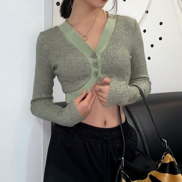 Gentle Retro Short Knitted Blouse Cardigan 4 - My Sweet Outfit - EGirl Outfits - Soft Girl Clothes Aesthetic - Grunge Fashion Grime Hip Emo Rap Trap