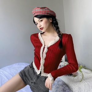 Gentle Short Knit Contrast Lace Cardigan 1 - My Sweet Outfit - EGirl Outfits - Soft Girl Clothes Aesthetic - Grunge Fashion Grime Hip Emo Rap Trap