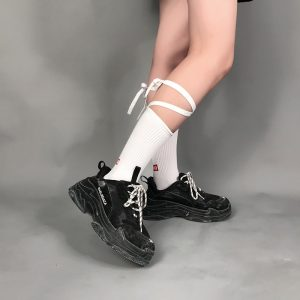 Good Mood Bow Tie High Socks 1 - My Sweet Outfit - EGirl Outfits - Soft Girl Clothes Aesthetic - Grunge Fashion Grime Hip Emo Rap Trap