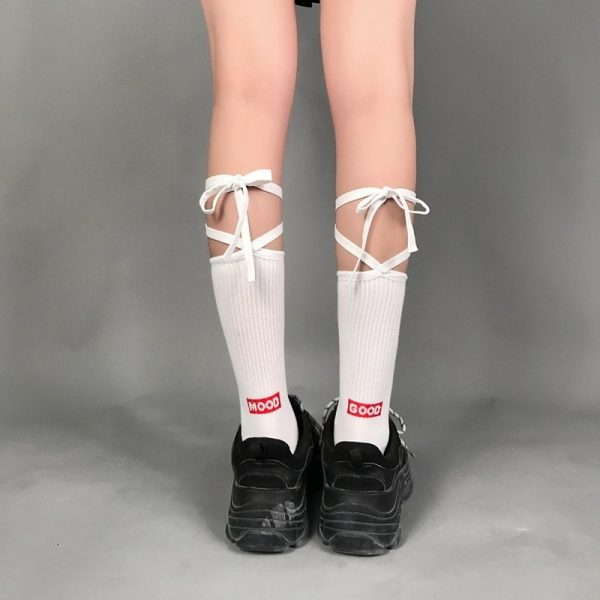 Good Mood Bow Tie High Socks 2 - My Sweet Outfit - EGirl Outfits - Soft Girl Clothes Aesthetic - Grunge Fashion Grime Hip Emo Rap Trap